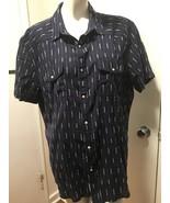 Lucky Brand Men's Short Sleeve Shirt Navy White Size XL 100% Cotton NWT - $20.00