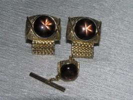 Vintage Swank Goldtone w Brown Linde Star Cab Demi Tie Tac & Cuff Links ... - $10.39