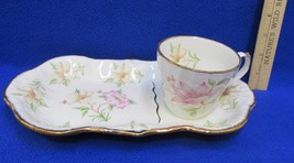 Royal Crown Staffordshire Hospitality Snack Plate & Cup Lunch Magnolia F... - $17.81