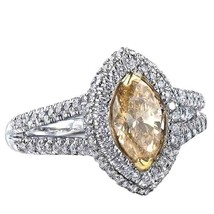 Marquise Cut Engagement Ring 1.55 Carat Intense Yellow Diamond Double Ha... - €2.507,03 EUR