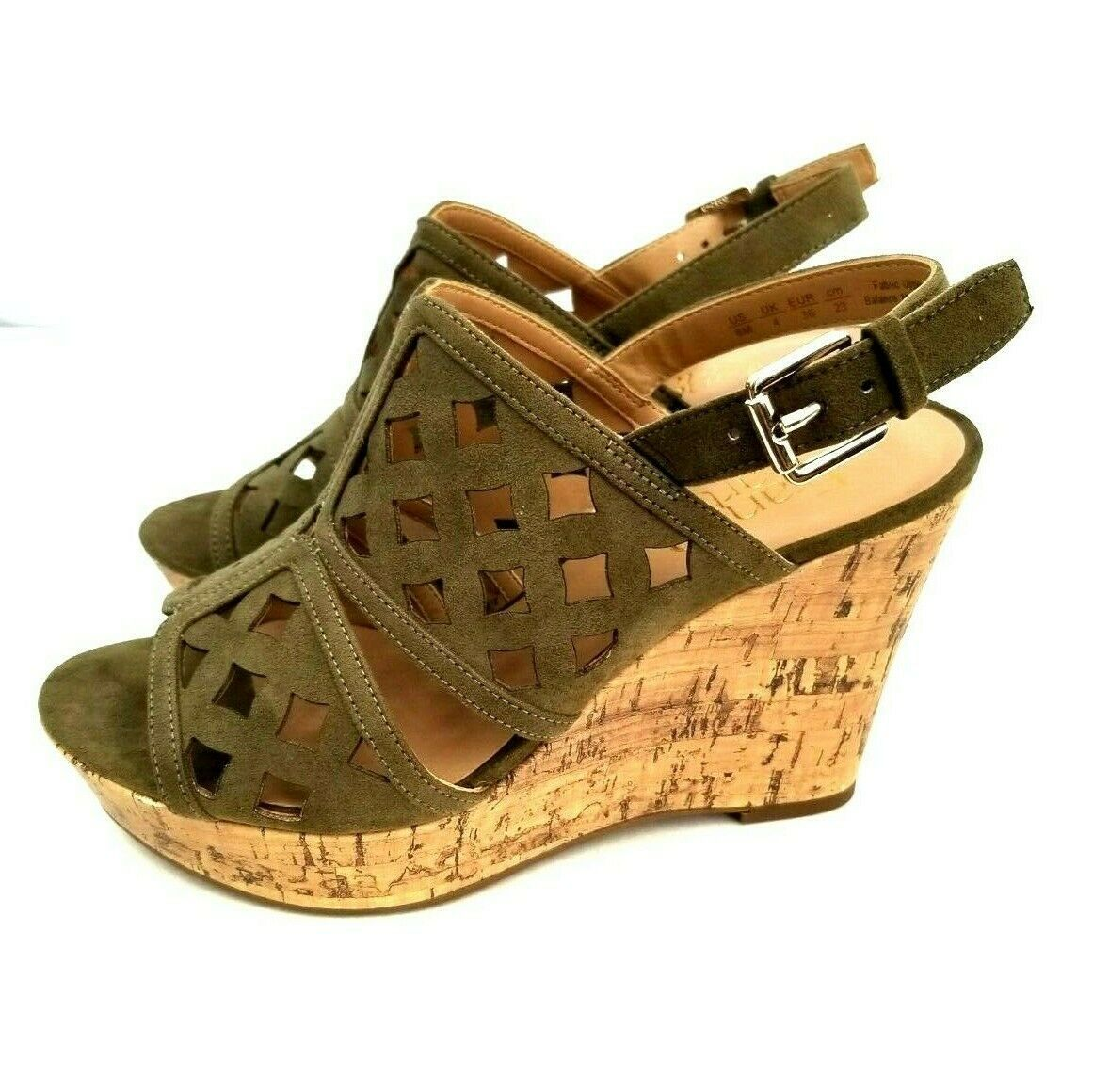 Franco Sarto Womens Shea Sandals Size 6M Cork Wedges Olive Green Suede Peep Toe