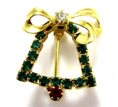 Vintage Small Green Rhinestone Bell W/ Bow Christmas Gold Plated Brooch ... - $10.88