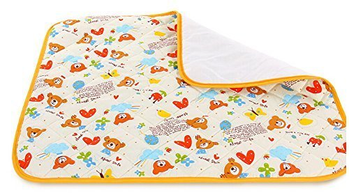 Toddler Waterproof Washable Diaper Changing Mat Pad(White Bear)-75120cm