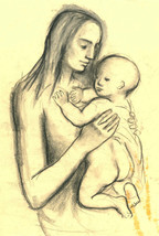 Barbara Dorf - Mid 20th Century Charcoal Drawing, Woman Holding a Child - $49.01