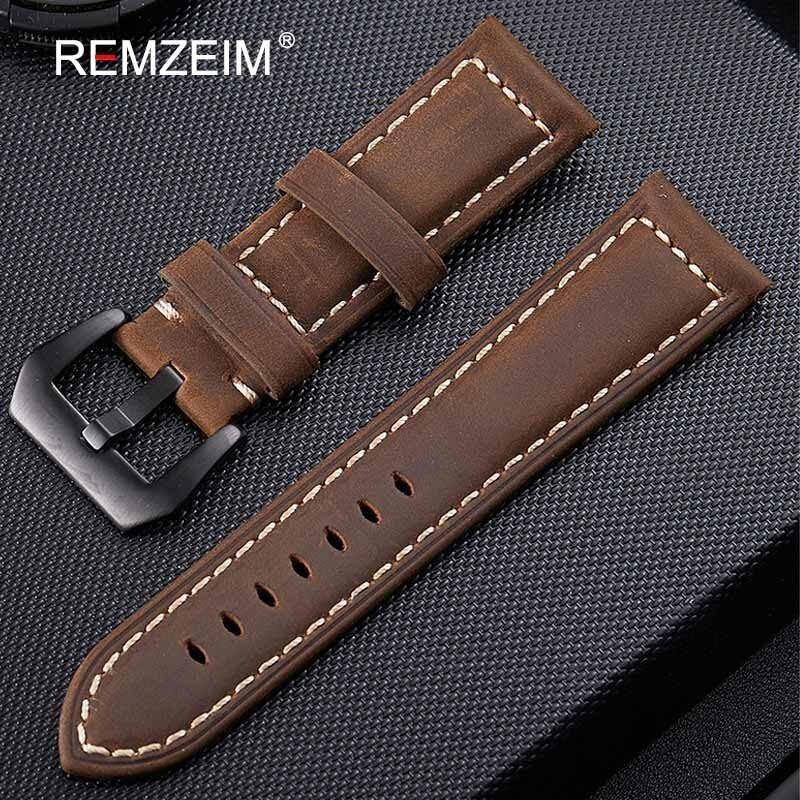 Handmade 4 Color Watch Accessories Vintage Genuine Crazy Horse Leather 20mm 22mm