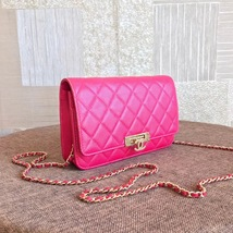 100% AUTH CHANEL HOT PINK Caviar Leather WOC Wallet on Chain WOC Bag GHW image 4