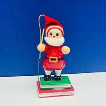 Christmas ornament 1980s wood holiday vintage mcm Santa Claus books stac... - $14.80