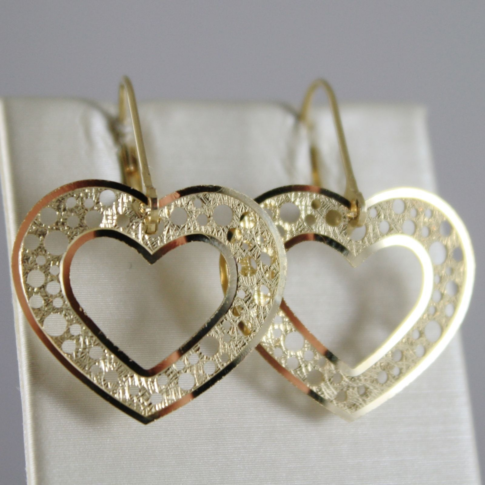 SOLID 18K YELLOW GOLD PENDANT HEART EARRINGS FINELY WORKED, BRIGHT MADE IN ITALY