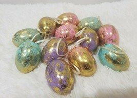"Easter Spring Pastel Gold Foil Egg Ornaments Tree Decor 2.25"" Set of 12 - $17.99"