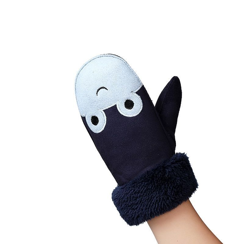 46cb61a60 Children's Cartoon Frogs Thick Cashmere Suede Leather Faux Sheepskin Warm  Gloves