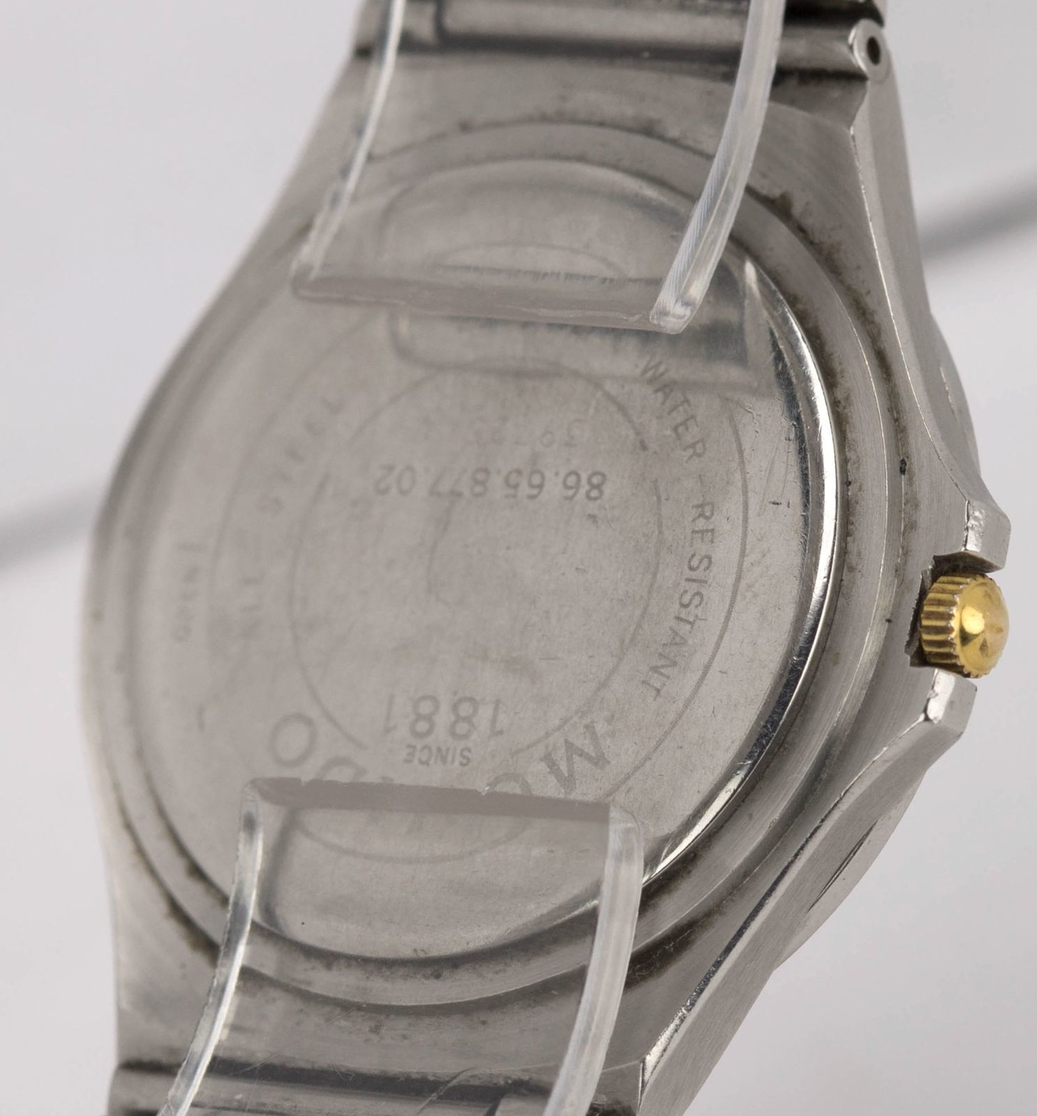 Movado Museum Stainless Steel Gold Black 34mm Quartz Watch 86.65.877  86 65 877