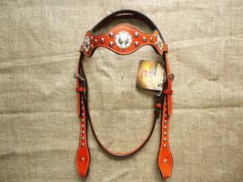 Hilason Western Horse Headstall Bridle American Leather Mahogany U-1-HS - $64.99
