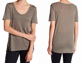 Splendid Scoop Neck Tee Large 10 12 Military Olive Green Vented Sides Po... - $48.96