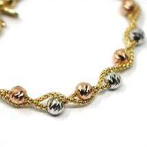 18K YELLOW WHITE ROSE GOLD BRACELET, BRAIDED BASKET LINK, DIAMOND CUT BALLS image 2