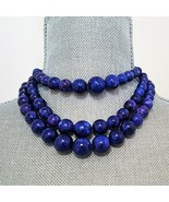 JOAN RIVERS GOLD PLATED BLUE LUCITE CHUNKY CHOKER NECKLACE - $45.00