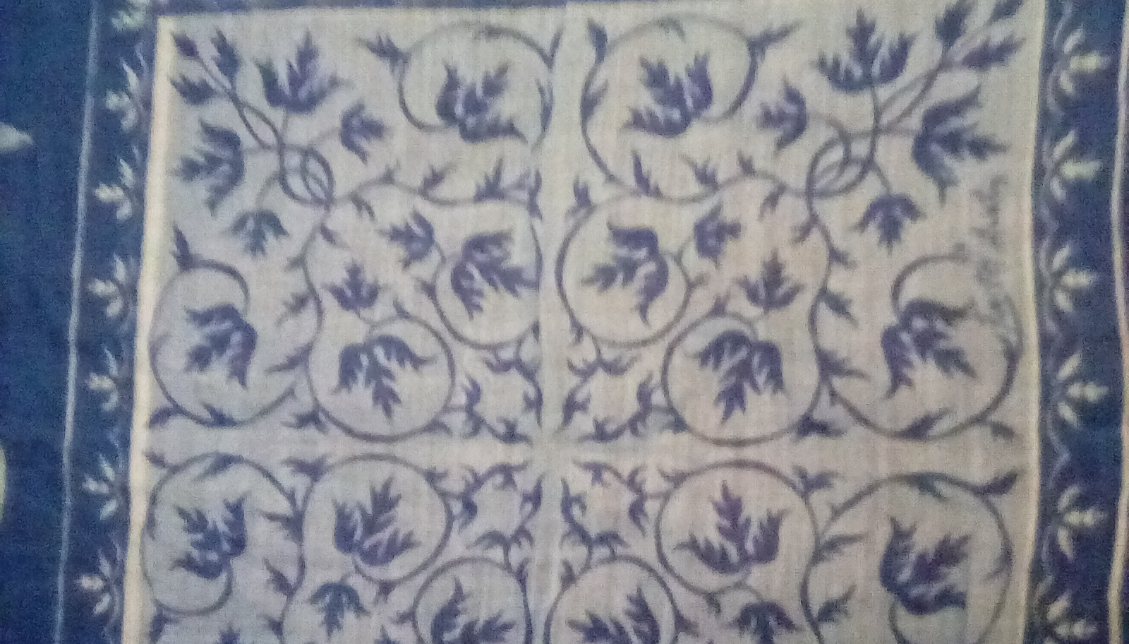 Faith Austin Handkerchief EUC Blue Urn Print