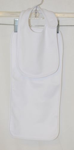 Blanks Boutique White Cotton Baby Bib And Burp Cloth Set