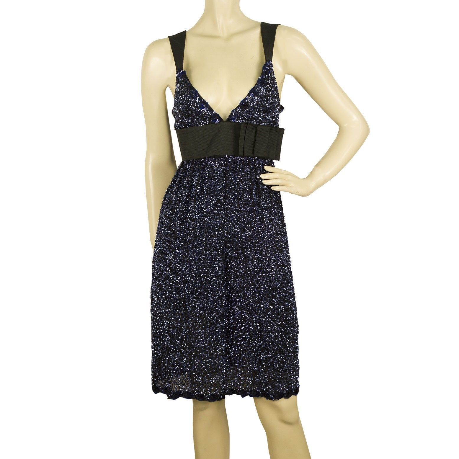 Duyan Midnight Blue Black Fully Sequined Knee Length Bow Dress size 42 It