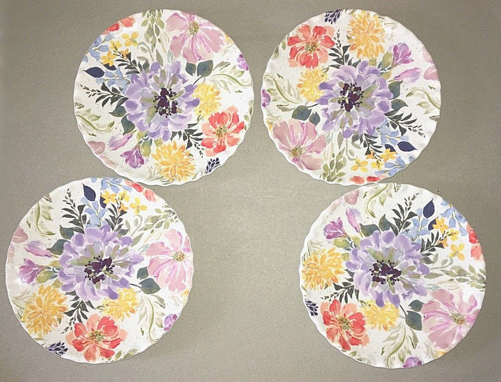 "Melamine Plates Floral 9"" Appetizer Dessert Salad Lunch set of 4 NEW Ruffled"