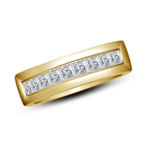 Engagement Band Ring Princess Cut Diamond 18k Yellow Gold Plated Pure 92... - $75.88