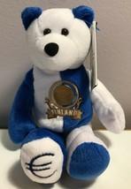 Limited Treasures Finland Euro Coin Stuffed Plush Bear New - $7.99