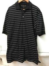 Tommy Hilfiger Men cotton Black white Stripe Polo Golf shirt Size L Large - $18.95