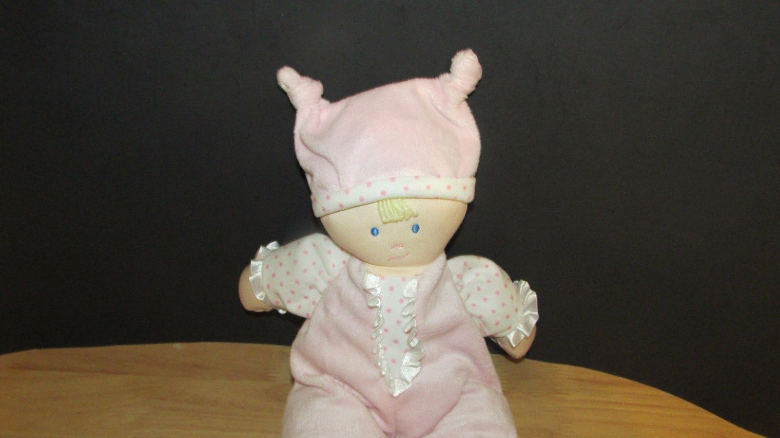 Kids Preferred doll baby soft plush pink knotted hat polka dots satin ruffle image 3