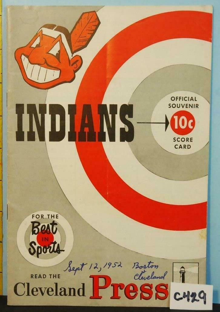 Primary image for 1952 Cleveland Indians Program v Boston Red Sox Unscored C429