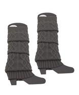 Gray Knitted Braided  Leg Warmers Knee High Warm Christmas Socks - $5.89