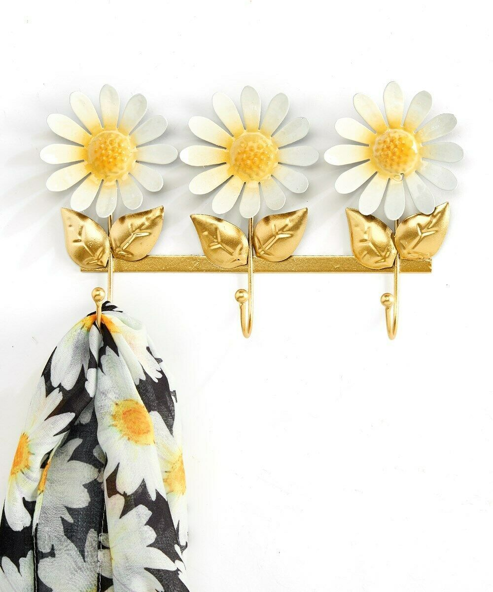 "Triple Hook Daisy Flower Design Yellow & White Wall Hooks -  10"" Long Metal"