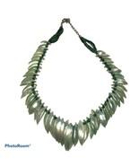 Boho Beach surfer Mother of pearl Shell Bib statement necklace aqua 17-... - $18.70
