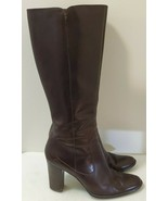 Harold's Brown Leather Knee-High Zip-Up High-Heeled Boots for Women, Oli... - $23.38