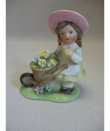 Arnart for Homco Porcelain Bisque  Figurine Little Girl W/ Wheel Barrow ... - $7.95