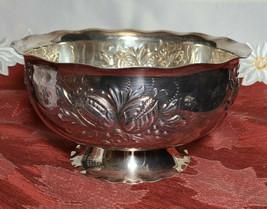 "Vintage Embossed Flowers Silver Plated Pedestal Bowl 3 3/4"" x 7 1/4"""