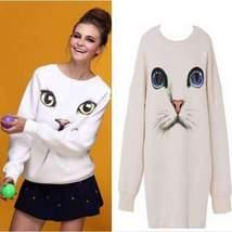 Fashion Harajuku Cat Print O-Neck Pullover - $24.00