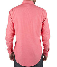 Men's Tailored Fit Collared Button Down Casual Solid Coral Dress Shirt - XL image 3
