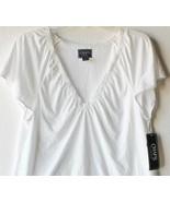 Chaps by Ralph Lauren Misses L Large 12-14 White Lace Trim V Neck Knit Top - $24.99