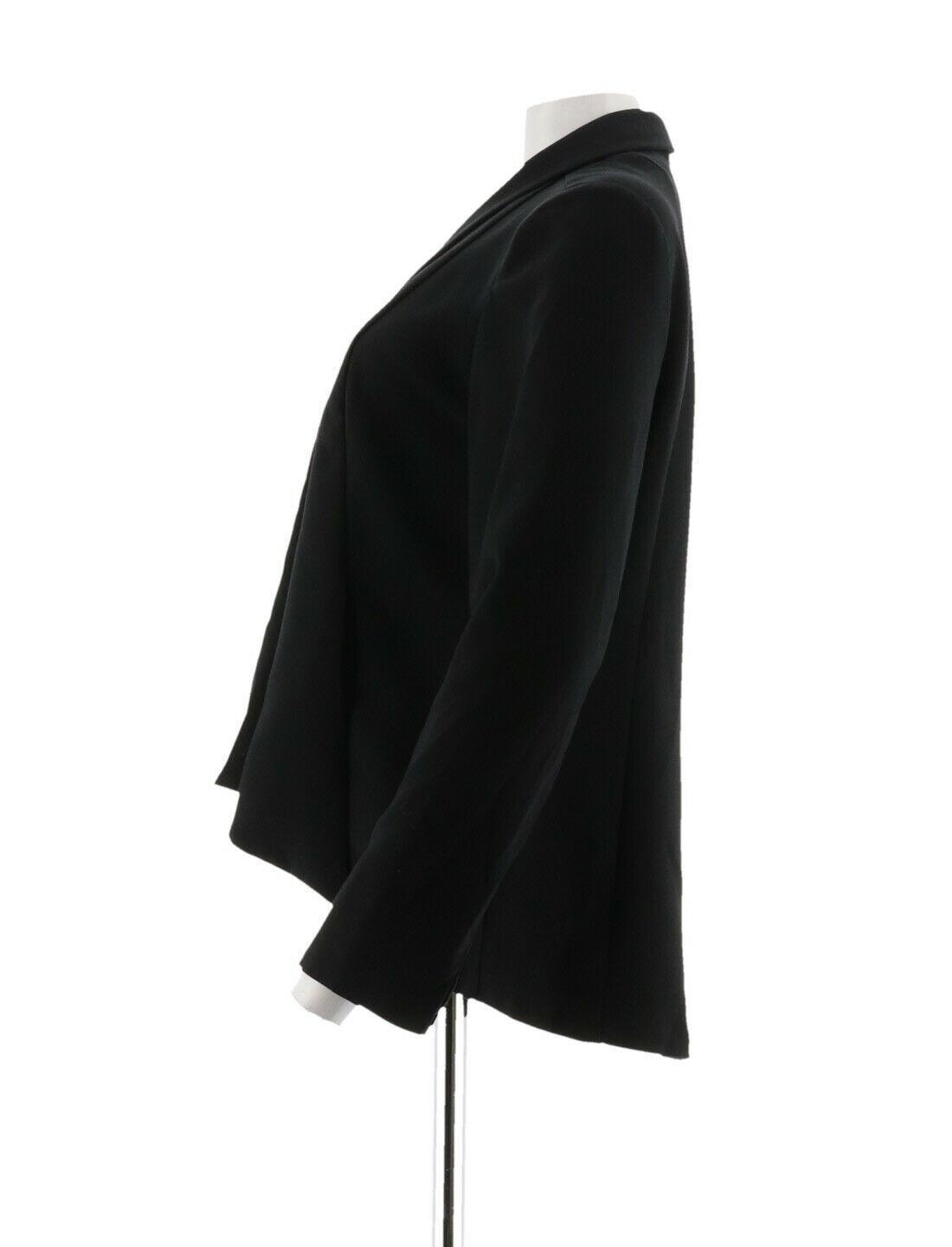 H Halston Long Slv Open Front Jacket Seam Black 12 NEW A303200 image 2