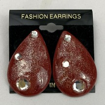 Vintage Funky Glitter Shimmer Enamel Earrings Red Clear Gem Pear Drop 80... - $14.80