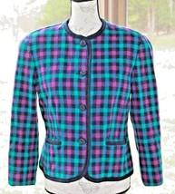 Pendleton 12 Purple Green Blue Plaid Check Pure Virgin Wool Blazer Jacke... - $20.18
