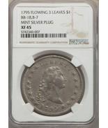 1795 $1 B-7 BB-18 Silver Plug Flowing Hair Dollar NGC XF45 - £19,345.33 GBP