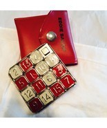 "1990's Eddie Bauer Travel Game Enamel On Metal Numbers Puzzle 3"" Sq Red ... - $17.00"