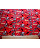 1 Yd Bobby Jack Children's Licensed Fabric Monkey Rockstar on Red Guitar... - $6.89