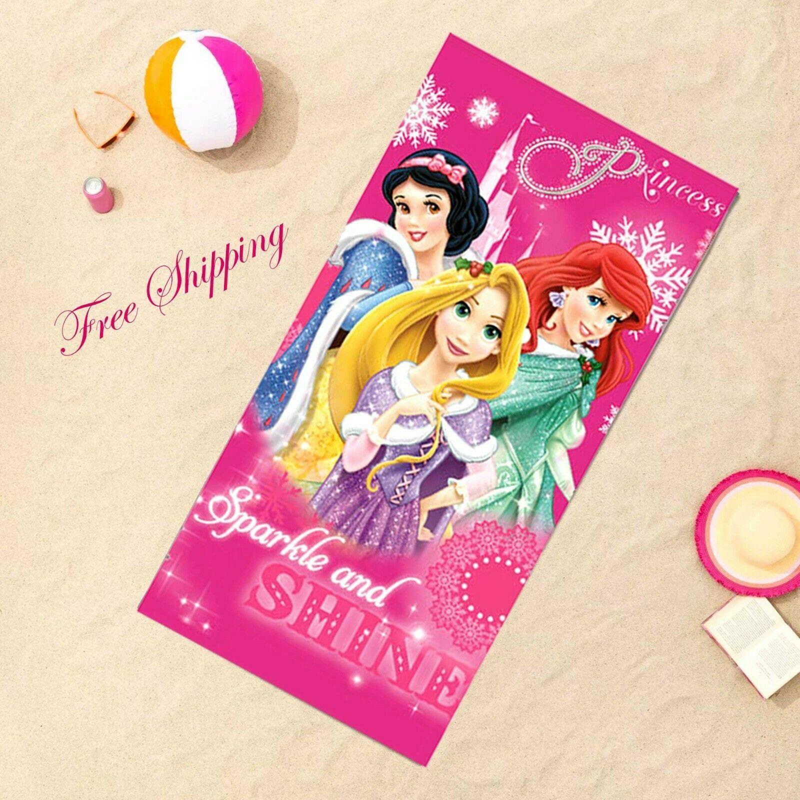 Disney Princesses Kids Youth 100% Cotton Beach/Pool/Bath Towel, Summer Holidays - $26.29