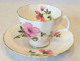 Adderley Bone China England Tea Cup & Saucer Floral pink floral - $16.99