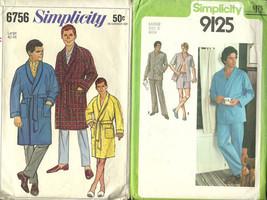 2 Vintage Mens Patterns Simplicity Robe & Pajamas Large - $7.91