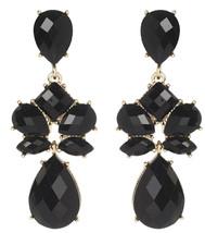 Amrita Singh Hampton Friday Black Faceted Resin Chandelier Earrings ERC ... - $19.50
