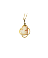AMCO 10k Gold Filled Shell Cameo Necklace Pendant 14k Gold Filled Chain ... - $39.59