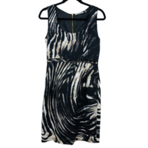TAHARI Womens Dress Sleeveless Black Animal Print Sheath Linen Rayon Size 4 - $32.67