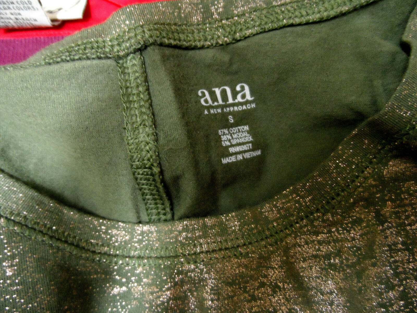 A.N.A Metallic Tunic T-shirt S Olive Green Gold scoop neck Stretch Long slv top